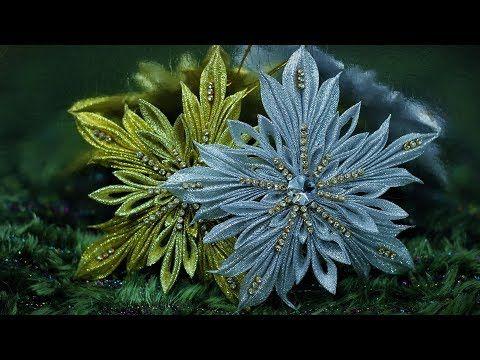 "СНЕЖИНКА ""Крылья Ангела"" , мастер класс из лент, КАНЗАШИ / DIY Ribbon Flower Kanzashi - YouTube"