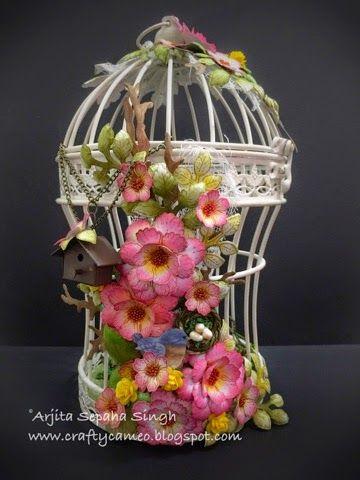 Flowered wire bird cage
