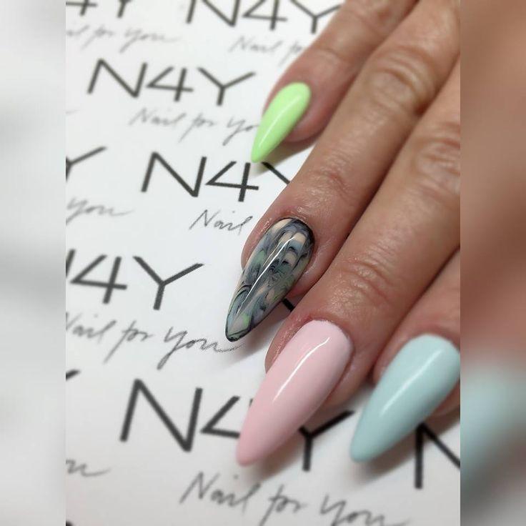 Gel Polish Marble nail art neon pink almond uv gel design fashion black nails nailart