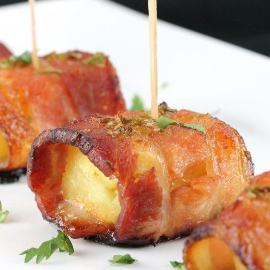 Sriracha-Honey Glazed Bacon-Wrapped Pineapple. This is an appetizer to die for!