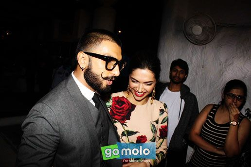 Ranveer Singh & Deepika Padukone at the Success party of Hindi movie 'Tamasha' at Olive in Bandra, Mumbai