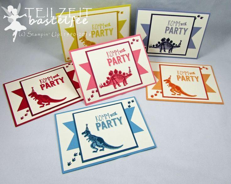 Stampin' Up! – Kindergeburtstag, Kid's Birthday, boy, invitation, Einladung, No Bones about it, Konfetti-Grüße, Confetti Celebration, Dinosaur, Dinosaurier