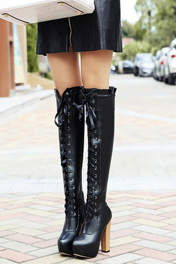 Black Lace Up Ruffled Platform Chunky High Heel Knee High Boots