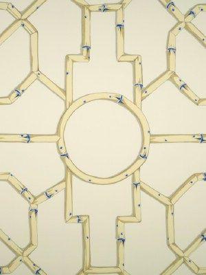 DecoratorsBest - Detail1 - Scala WP81630-007 - Baldwin Bamboo - Linen and Blue On Ecru - Wallpaper - DecoratorsBest
