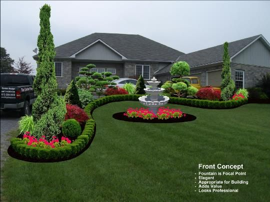 formal garden with japanese maples