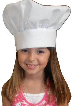 Chef Hats, Kids Chef Hats, Kids Cloth Chef Hats--White adjustable with velcro. Kids basic cloth chef hat from growingcooks.com