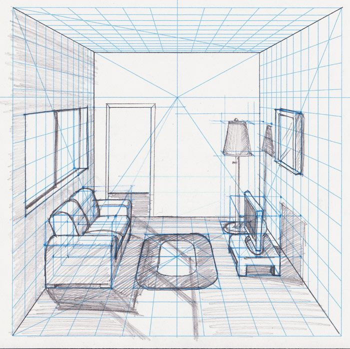 Room in perspective withgrid drawing with a - One point perspective drawing living room ...