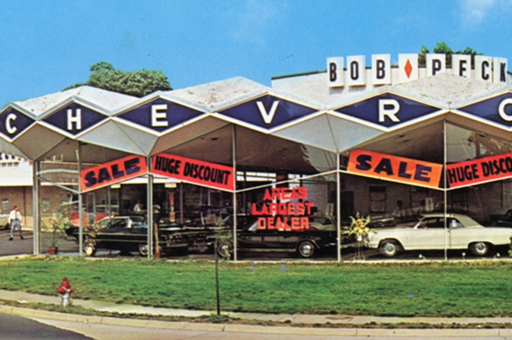 The old Bob Peck Chevrolet dealership at Wilson Boulevard and N. Glebe Road in Ballston.