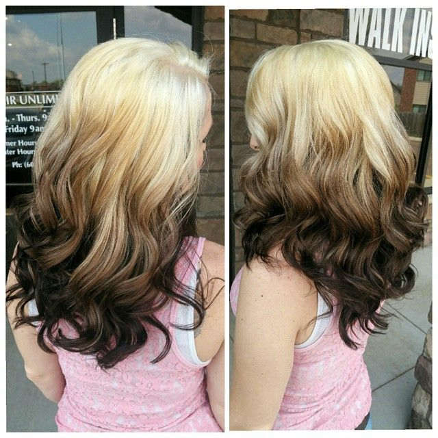Beautiful warm reverse ombre hair color created by Jackie ...