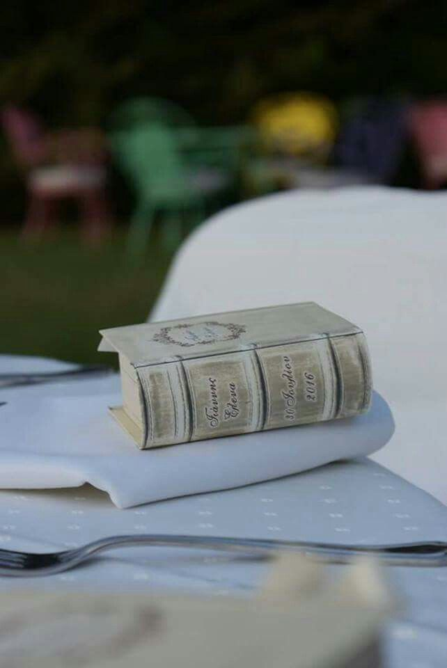 Vintage antique book box favor boxes - Wedding stationery