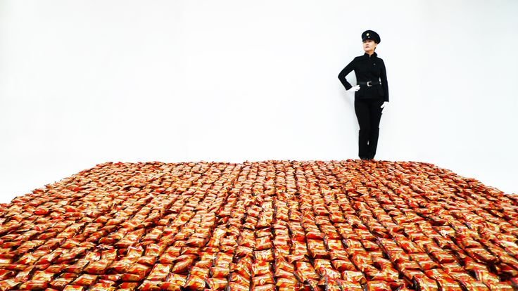 10,000 Choco-Pie Installation (with pose by Mina Cheon aka Kim Il Soon) 153 x 159 x 5 inches Site specific, interactive, audience participation installation Sponsored by Orion Co., Korea And, whose Choco·Pie is it? The installation of 10,000 Choco·Pie for the audience to eat was kindly donated by Orion Co. in support of the installation Eat Choco·Pie Together that promotes Korean reunification and global peace. Kim Il Soon unconsciously exposed to the outside world, had her Duchampian moment…
