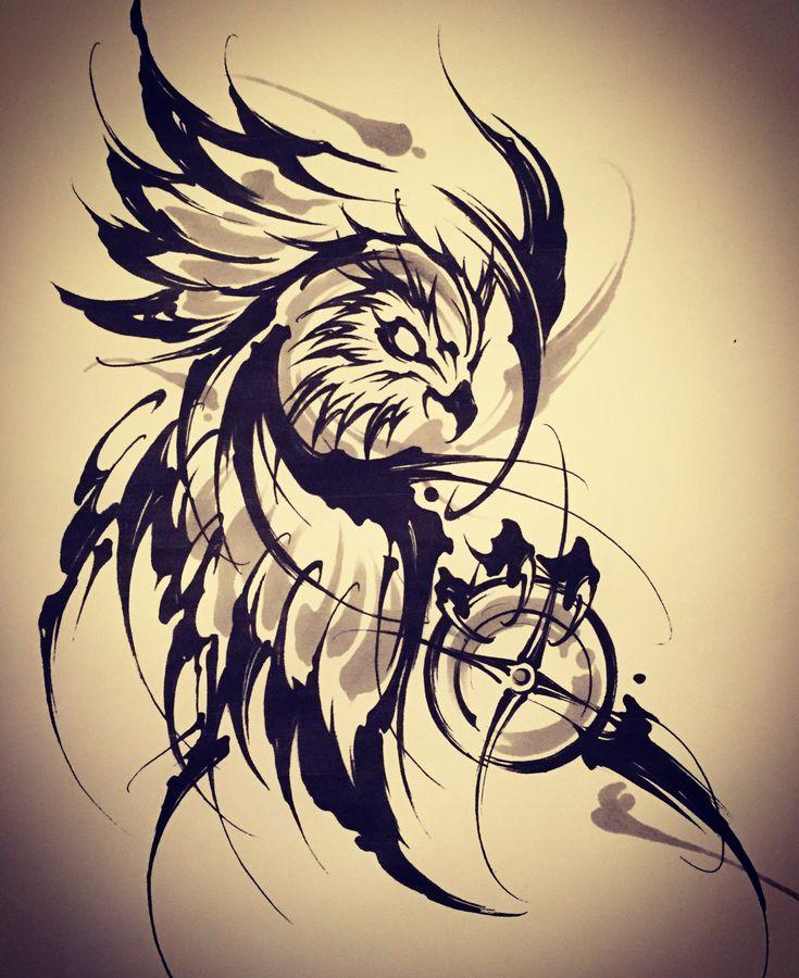 Amsterdam TATTOO 1825 KIMIHITO  Owl Brush stroke tattoo design