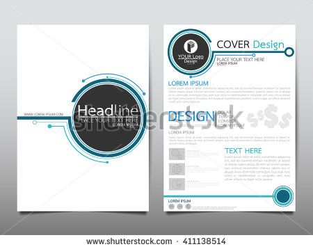 Blue circle technology annual report brochure flyer design template vector, Leaflet cover presentation abstract technology background, layout in A4 size