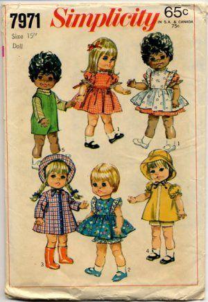 "Simplicity 7971 Toddler Dolls Wardrobe For 15"" & 18"" Dolls Pattern - uncut"