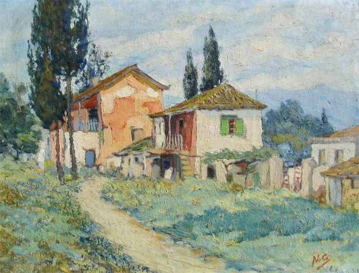 OTHONEOS Nikolaos (1877- 1949)                                                    'Landscape with village houses'