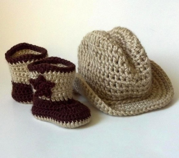 Perfect for a lil photo shoot in his cowboy themed nursery.    Crochet Baby Cowboy Boots and Cowboy Hat Set by JackAndJillBaby, $40.00