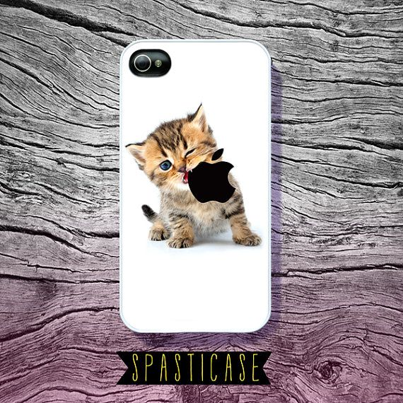 Cute iPhone Case for iPhone 4 or 4S - Kitten Eating Apple Logo - Plastic or Silicone Rubber Case