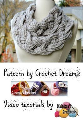 Now with full Video Tutorials (right&left handed) - Double Layered Braided Cowl   Free Crochet Pattern on myhobbyiscrochet.com