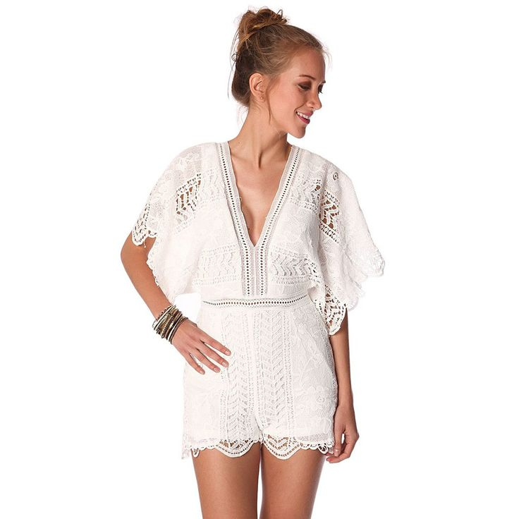 White lace romper with kimono sleeve
