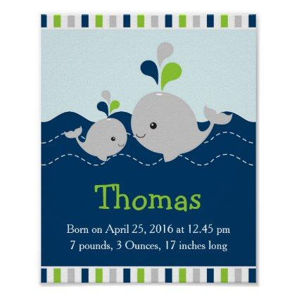 Green Nautical Whale Baby Nursery Statistics Poster - newborn baby gift idea diy cyo personalize family