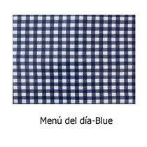 Estampado Menú del día- Blue Hule de telade algodón y PVC. Impermeable. Disponible en todos los productos Arethaju. www.arethaju.com #delantales, #mantel, #hule, #cuadritos, #baberos, #pizarramantel, #cambiadoresplegables, #bolsascochecito, #bolsos, #neceseres, #carteras, #handmade, #diseñopersonalizado, #arethaju,
