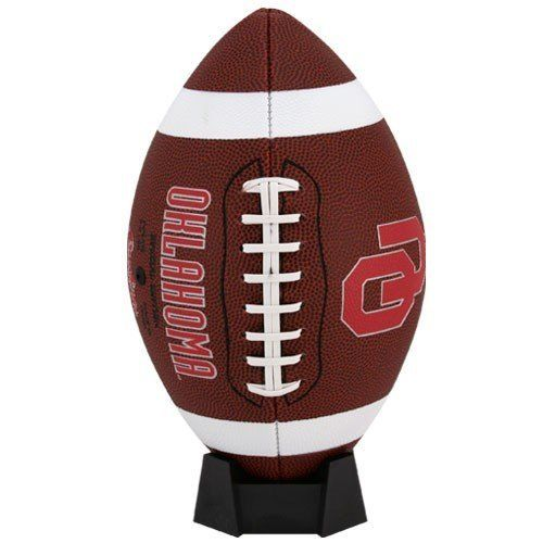 NCAA Oklahoma Sooners Game Time Full Size Football by Licensed Products. $21.99. Comes with a display stand kicking tee.. Features collegiate striping.. Oklahoma Sooners team logo displayed on front and school wordmark on back.. Full size pvc pebble football with collegiate striping.. The Rawlings tradition and quality is demonstrated in this full-size pvc pebble football.  This durable pebble and classic on-field football features collegiate striping and is ready ...