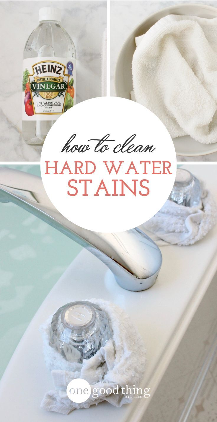 Learn how to remove hard water stains from your faucets, bathtub, toilet, and more! It's so easy, you'll wonder why you didn't do it sooner.
