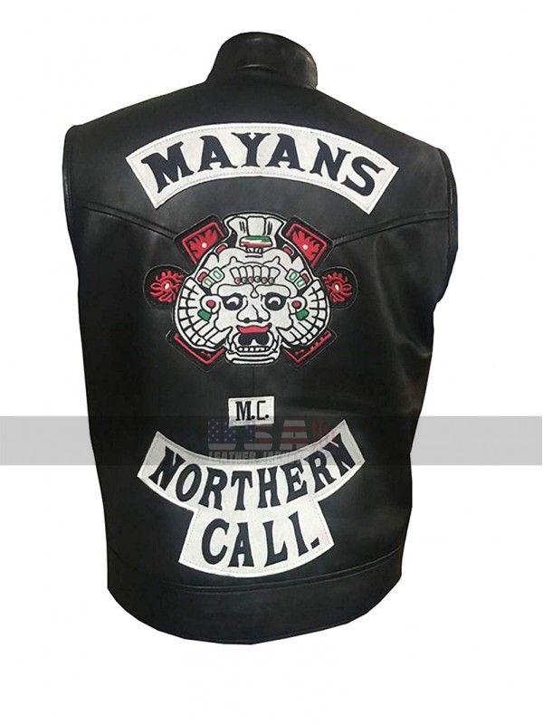 Mayans M C Northern Cali Jd Pardo Ezekiel Reyes Black Biker Leather Vest Black Leather Vest Leather Vest Sons Of Anarchy Vest