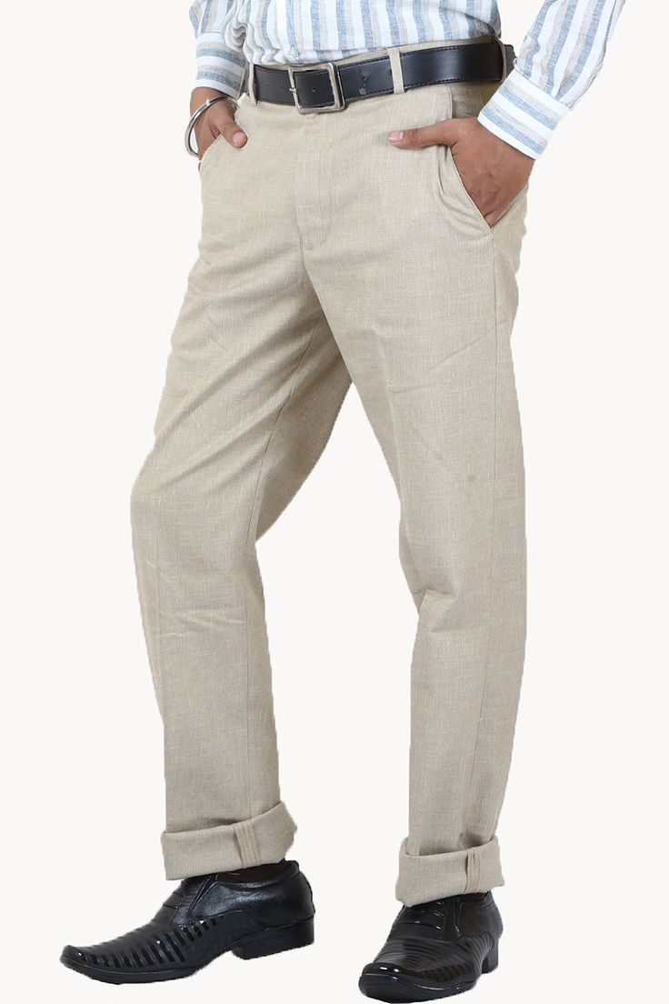 Buy DMARK Fawn Lycra Linen Trousers Online For Men Lowest Prices only on GetAbhi.com http://tinyurl.com/jdhkggg