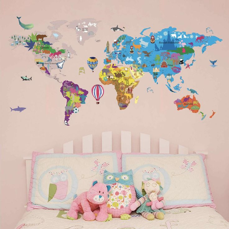 The 25 best world map online ideas on pinterest buy art 6s illustrated world map decal for kids fabric wall sticker buy illustrated world map decal gumiabroncs Image collections