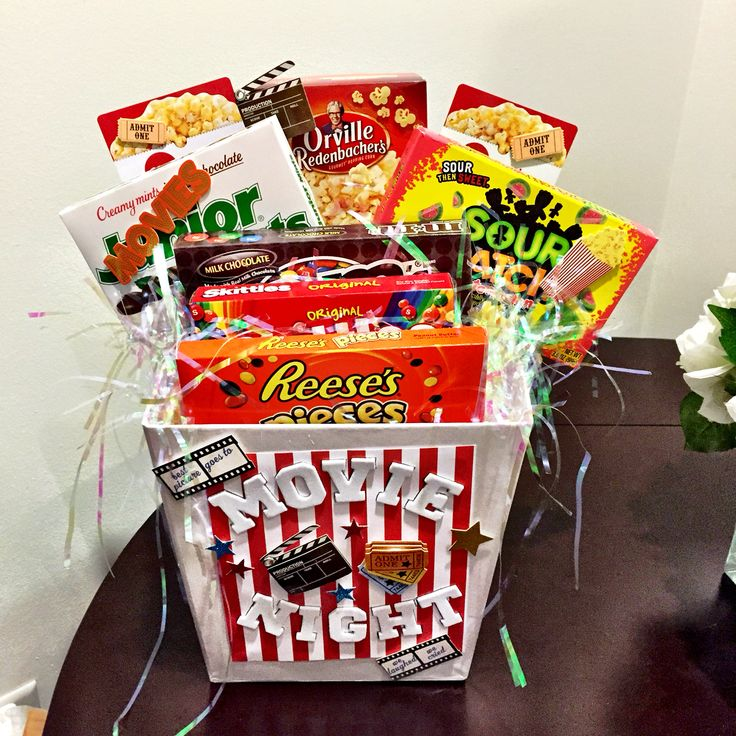 Silent Auction Movie Night Basket Tricky Tray Basket Ideas