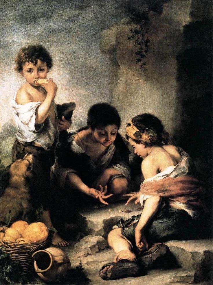 Bartolome Esteban Murillo. Boys Playing Dice. 1675. 1.46 X 1.08 M. Alte Pinakothek, Munich, Germany