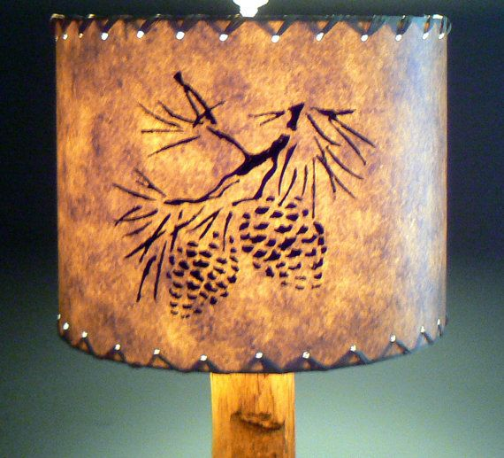Pine Cone Drum Lamp Shade Stenciled Paper Rustic By LiteandShadow