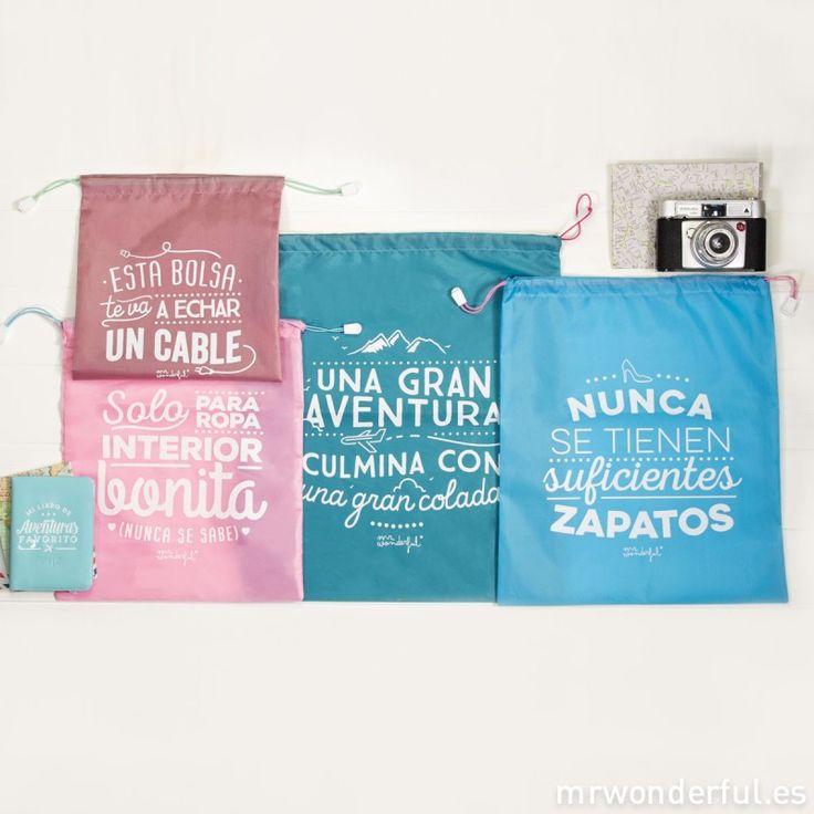 Bolsas viajeras wonder, para llevar todos tus bártulos pa'rriba y pa'bajo con mucho orden. #mrwonderful #bags #polyester  #trip