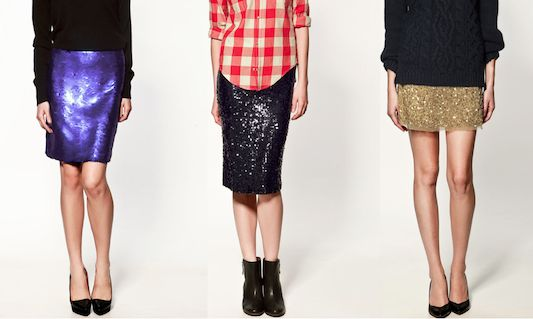 Sequin Skirts + Casual Tops