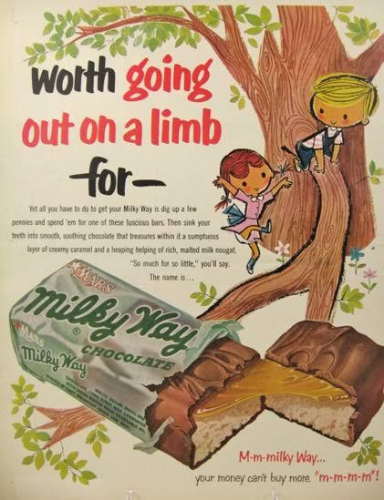 old candy and gum | 1953 Milky Way Ad ~ Out On a Limb, Vintage Candy & Gum Ads