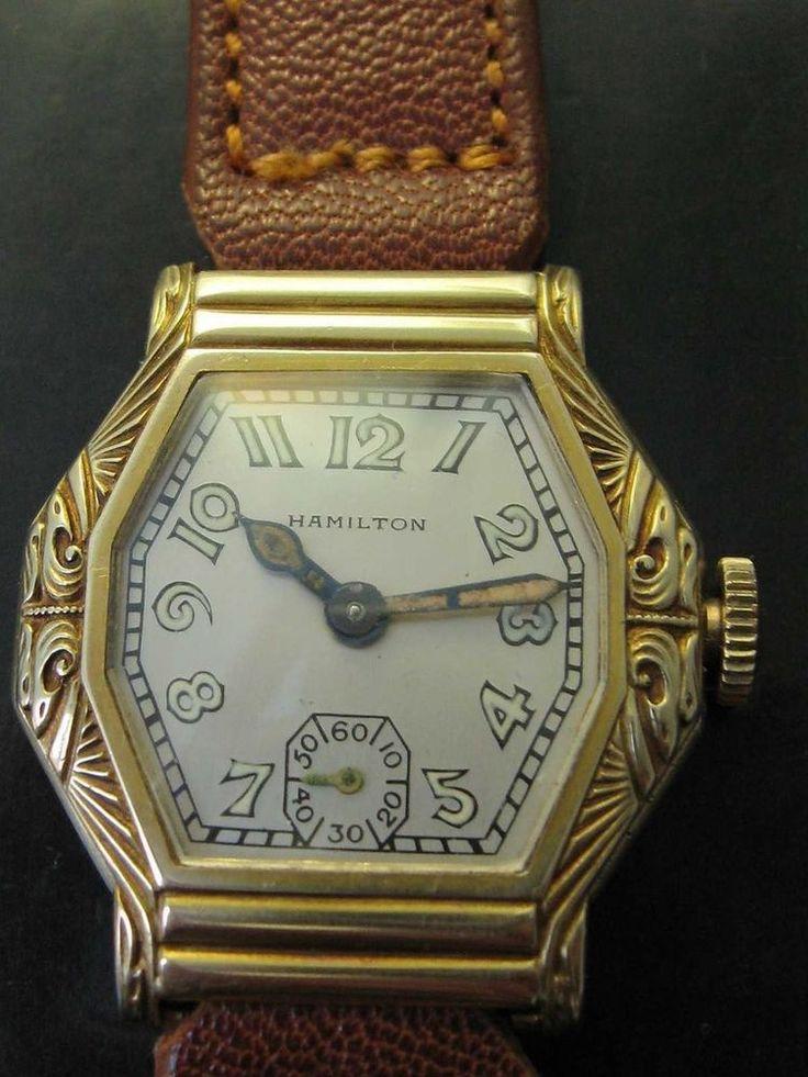 "1930 : Hamilton ""Glendale"" 14 kt solid YG very rare very fine - deco watch #Hamilton #vintage"