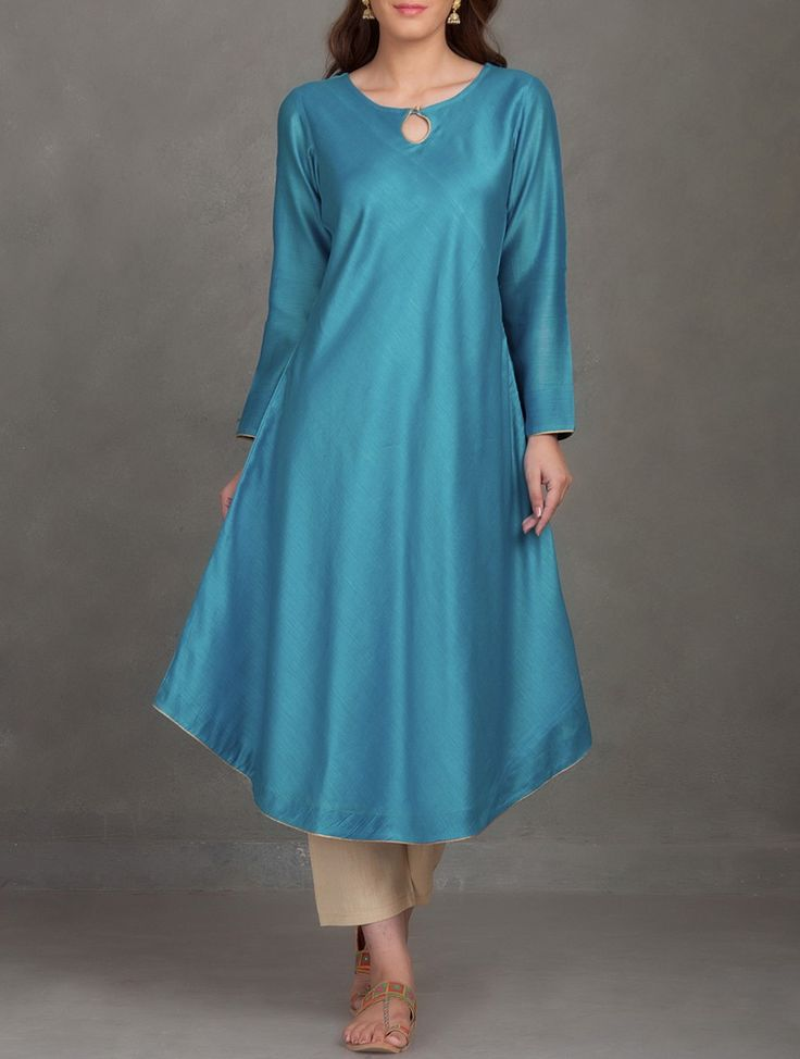 Buy Sea Green Teal Button Embellished Bias Cut Chanderi Kurta Silk Women Kurtas Online at Jaypore.com