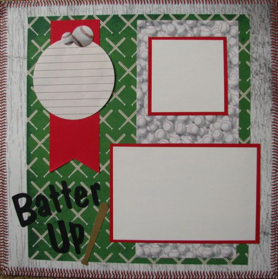 Baseball Scrapbook Pages | Baseball Batter Up 12 x 12 Layout, Scrapbook, Sports, Handmade Pages ...