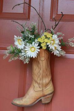 Cowboy Boot Door Arrangement. Calico bandana, ribbon, seasonal florals, could hang year round