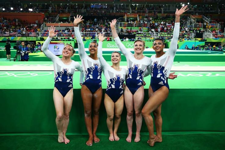 RIO DE JANEIRO, BRAZIL - AUGUST 09: Members of Great Britain wave to fans after finishing fifth in the Artistic Gymnastics Women's Team Final on Day 4 of the Rio 2016 Olympic Games at the Rio Olympic Arena on August 9, 2016 in Rio de Janeiro, Brazil. (Photo by Alex Livesey/Getty Images)