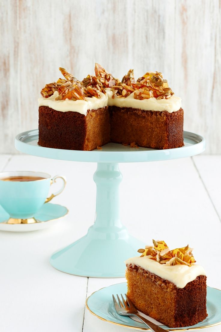 Pumpkin Spiced Cake with Sunflower Almond Toffee