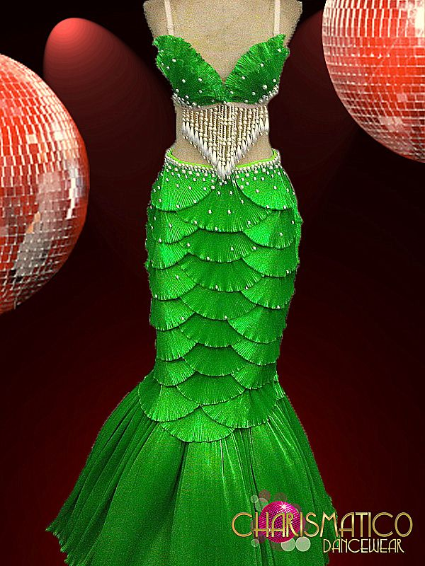 "CHARISMATICO Green Satin ""Scaled"" Shell Bra and Mermaid Tail Showgirl Burlesque 
