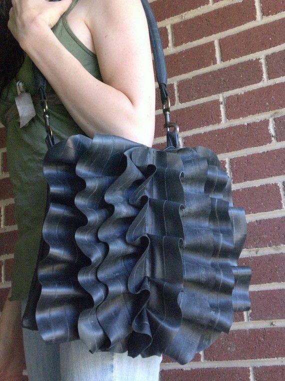 Eco Bicycle Tube Rubber Ruffle Bag