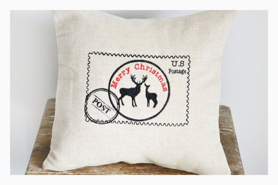 Postcard Deer  Embroidered Christmas pillow cover by KoTshop