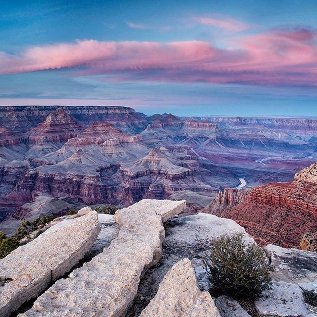 Photo @materas // Pastel colors of a late fall sunset from the South Rim of the Grand Canyon. The Grand Canyon was established as a national park in 1919, covers 1900 square miles and is the second most visited national park. Follow me @materas for more images like this from Arizona and around the world. #arizona #desert