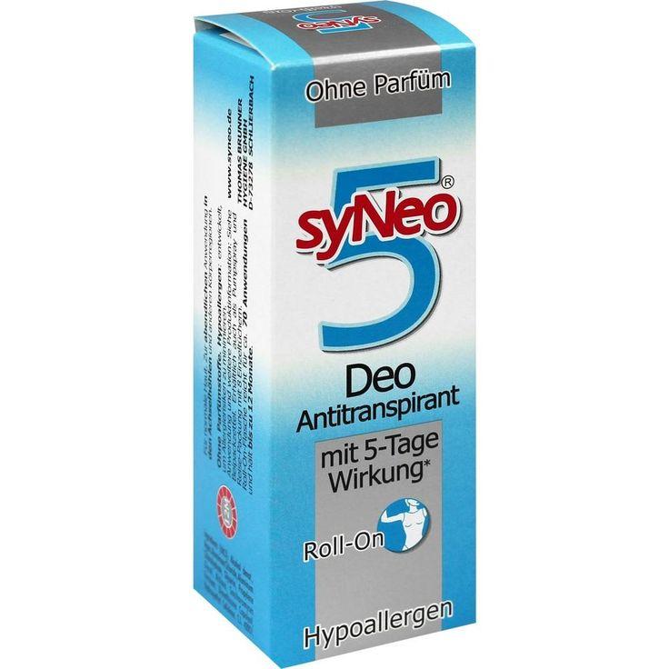 SYNEO 5 Deo Antitranspirant Roll-on:   Packungsinhalt: 50 ml Flüssigkeit PZN: 01284643 Hersteller: Drschka Trading Preis: 16,93 EUR inkl.…