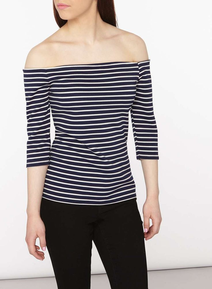 Petite Navy And White Bardot Top