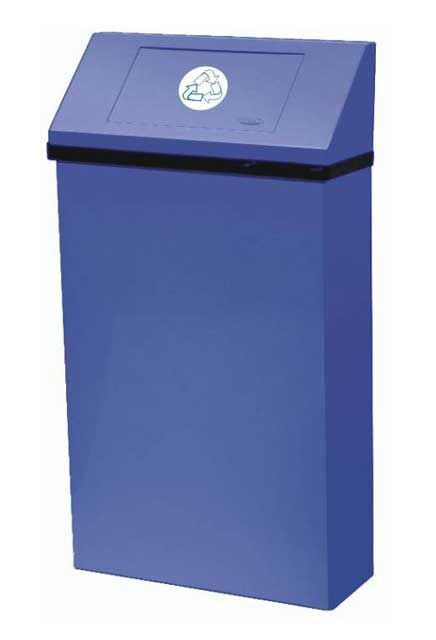 Jumbo Wall Mounted Recycling Receptacle: Large blue Wall Trash