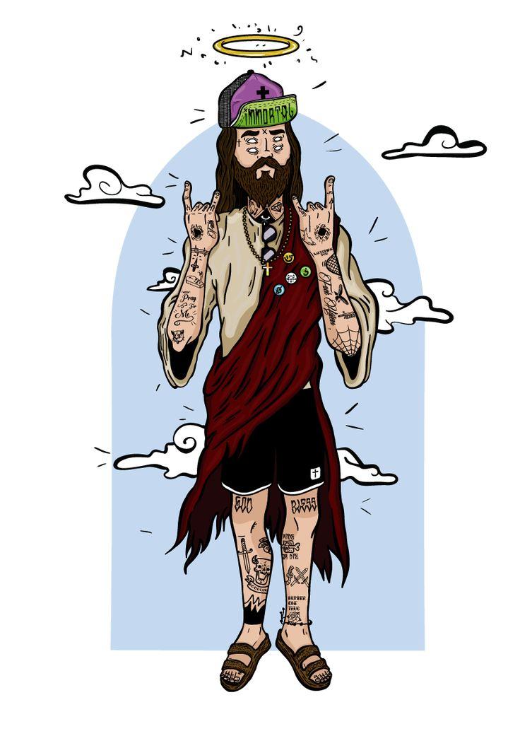 Mano do Céu on Behance tattoo jesus vector art illustration  colored version